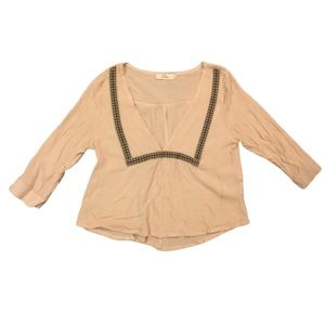Elodie Tan Plunge Crepe Ruffle Embroider Top Small